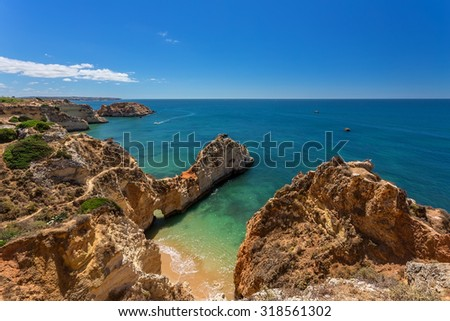 Magic seascapes Albufeira. In summer, the clear waters. Portugal Algarve area. - stock photo