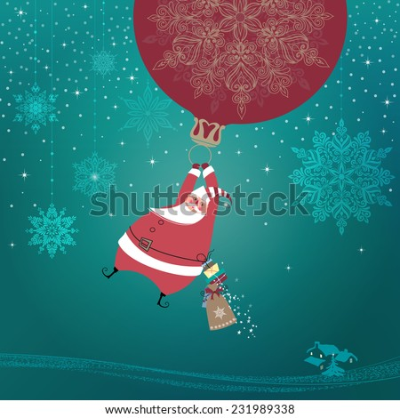 Magic silent night cute santa claus stock illustration 231989338 magic silent night cute santa claus with gifts is coming down holding giant christmas ornament m4hsunfo