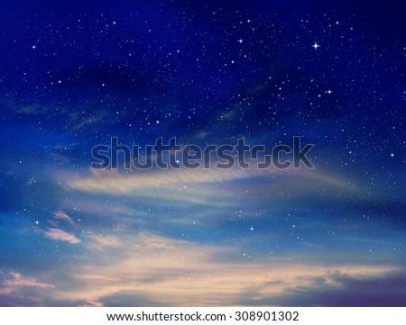 Magic sky background with stars - stock photo