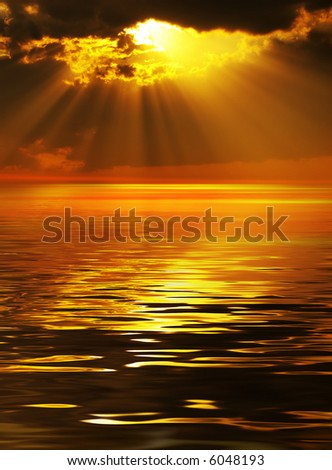 Magic solar beams coming out across clouds - stock photo