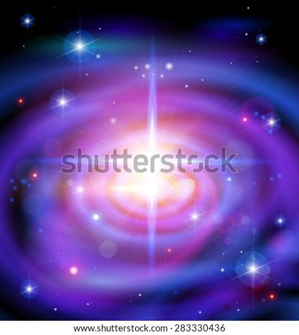 Magic Space - Big Galaxy, stars and constellations, nebulae and galaxies, lights - stock photo