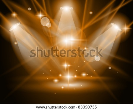 Magic Spotlights with GOLD rays and glowing effect for people or product advertising - stock photo