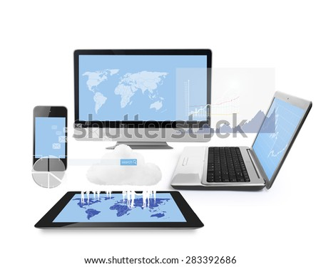 Magic Technology with social network structure  - stock photo