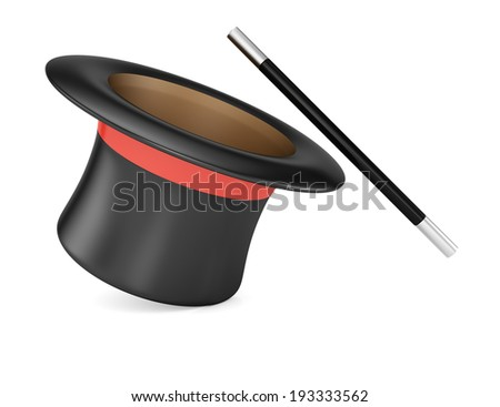 Magic wand and hat isolated on white background. 3d rendering illustration