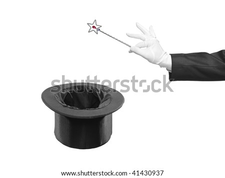 Magic wand and silk top hat - stock photo