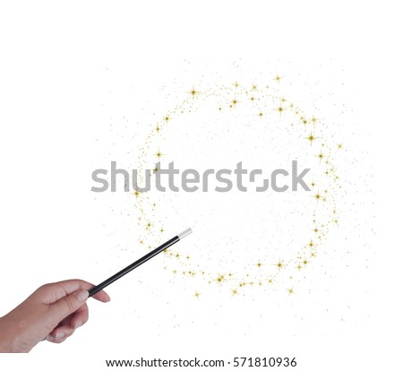 Magic wand in hand isolated on white. Gold stars. With copy space. Make wishes come true.