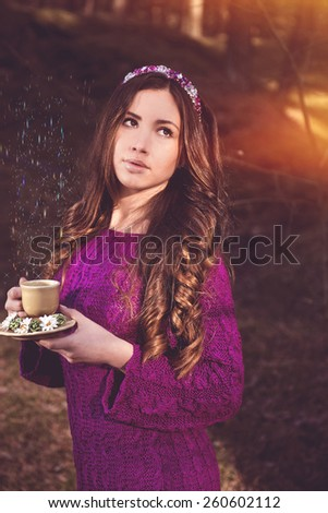 Magic Women in the forest ,with cup of tea