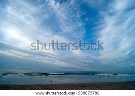 magical blue light color sky in a beach