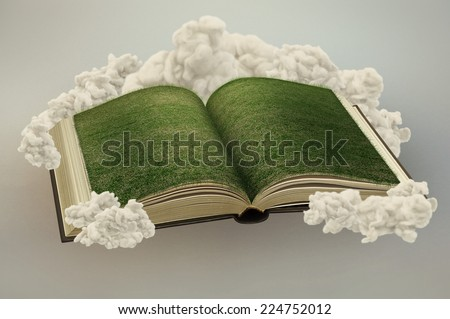 Magical book with grass floating in the clouds - stock photo