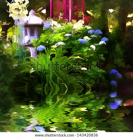 Magical garden photo with affects making it appear as a painting. - stock photo