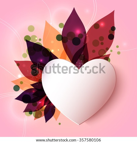Magical glowing floral background with 3D paper heart. abstract . - stock photo