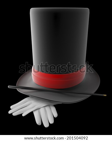 magical hat with gloves and wand, over black background - stock photo