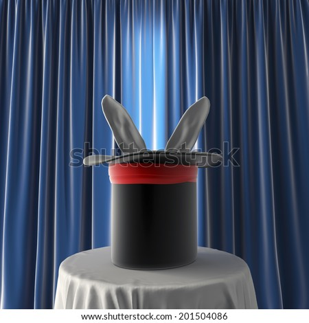 magical hat with rabbit ears over blue background - stock photo