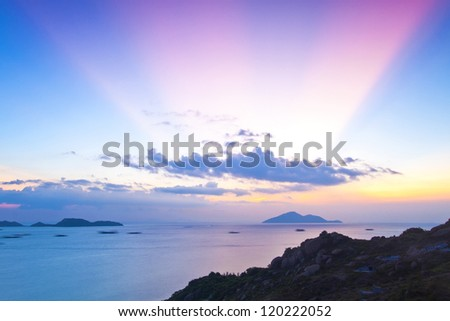 Magical moment at sunset in Hong Kong - stock photo