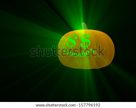Magical Money Jack-O-Lantern Glowing Green Over A Solid Background. - stock photo