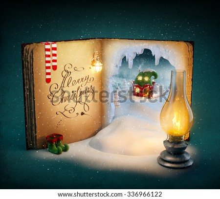 Magical opened book with fairy country and christmas stories. Unusual christmas illustration - stock photo