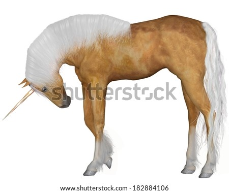Magical palomino unicorn with golden horn and silver mane and tail with head down against a white background, 3d digitally rendered illustration
