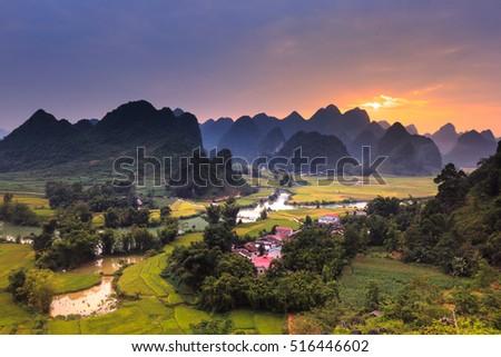 Magical sunset on the area near mountain Phong Nam, Cao Bang province, Vietnam