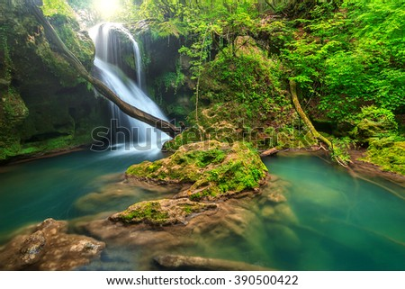 Magical Vaioaga waterfall in Transylvania,Beusnita National park,Romania,Europe - stock photo