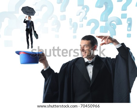 magician and little businessman with umbrella - stock photo