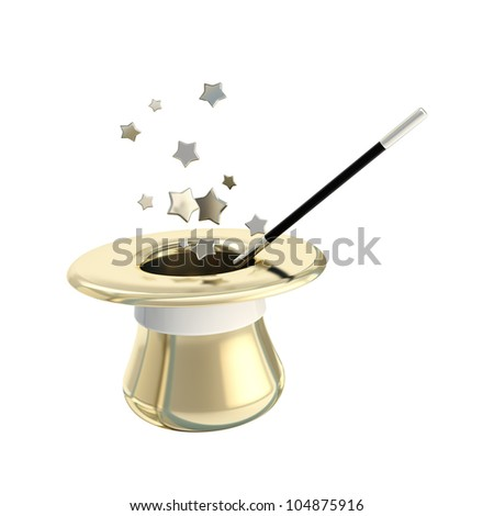 Magician hat and magic wand with stars inside it, isolated on white - stock photo