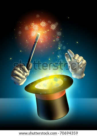 Magician's hands performing some trick using a cylinder hat. Digital illustration.