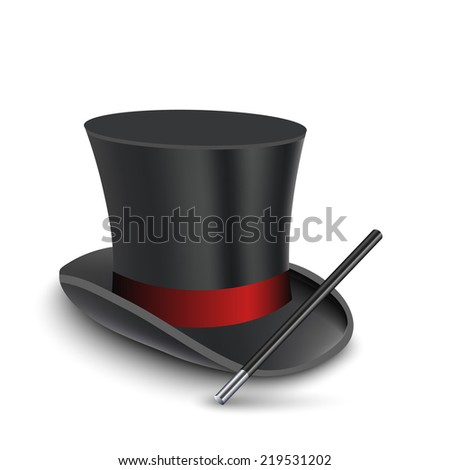 Magician Top Hat with stick. illustration