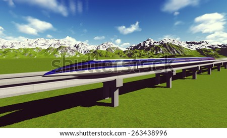 Maglev train. Raster. 10  - stock photo