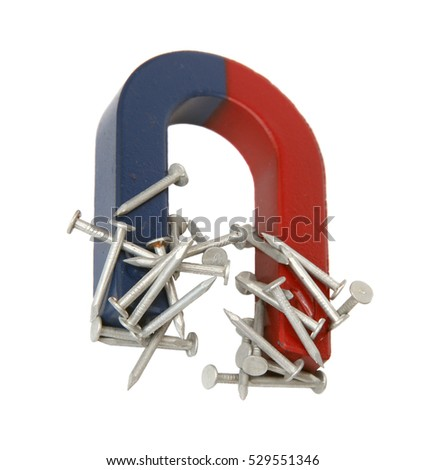 Magnet and nails isolated on a white background.