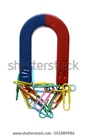Magnet and paper clips isolated on a white background.