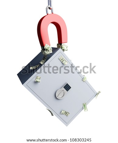 magnet attracts a safe and dollars on the white background