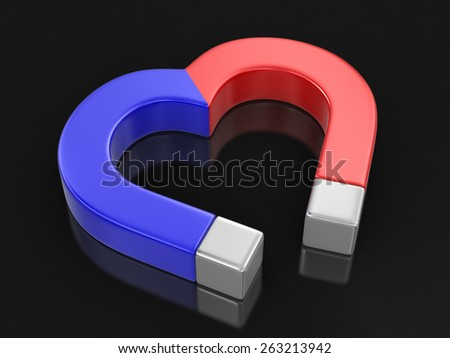 Magnet heart (clipping path included) - stock photo