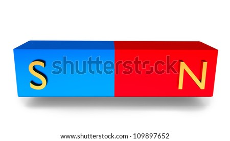 magnet on the white background, 3d illustration - stock photo
