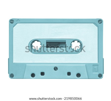 Magnetic audio tape cassette for music recording - cool cyanotype - stock photo