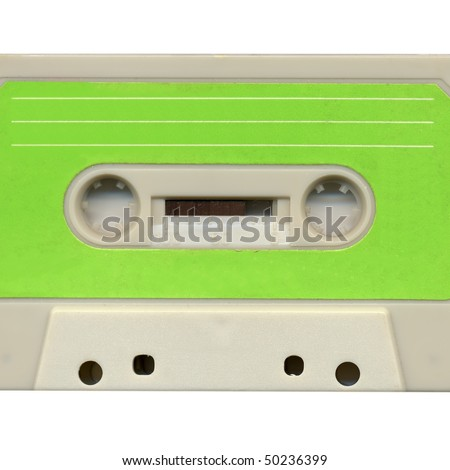 Magnetic audio tape cassette for music recording isolated over white