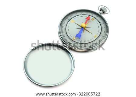 Magnetic compass isolated on white background - stock photo