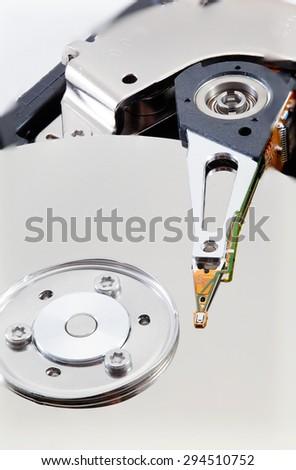 Magnetic data recording. macro recording equipment computer's magnetic strip. - stock photo