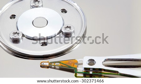 Magnetic data recording. macro recording equipment computer's magnetic strip. - stock photo
