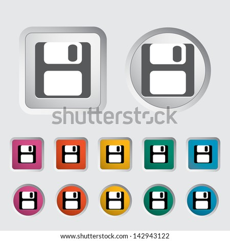 Magnetic floppy disc icon. Vector version also available in my portfolio. - stock photo