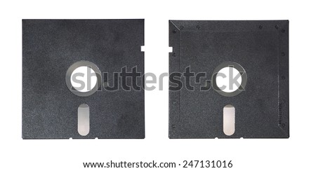 Magnetic floppy disk for computer data storage isolated over white. Magnetic floppy disk top view and back view. - stock photo