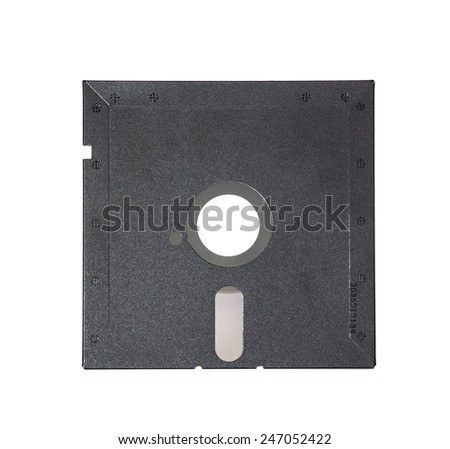 Magnetic floppy disk for computer data storage isolated over white. Old diskette 5.25 inches on white background. Old diskette 5.25 back view. - stock photo