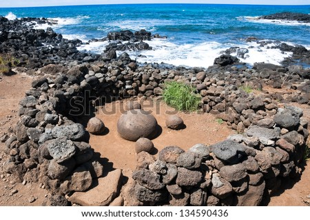 Magnetic round stone in Te Pito Kura, navel of the world,  Easter island (Chile) - stock photo