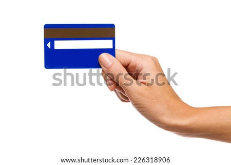 Magnetic stripe card, cardkey in woman's hand. Studio shot isolated on white. - stock photo
