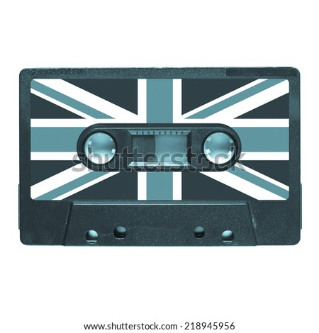 Magnetic tape cassette for audio music recording - British music - cool cyanotype - stock photo