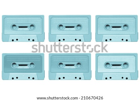 Magnetic tape cassette for audio music recording collage - isolated over white background - cool cyanotype - stock photo