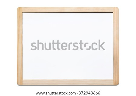 Magnetic whiteboard isolated on white background with wooden frame - stock photo