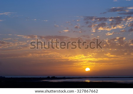 Magnific sunset  on the bay of Cadiz - stock photo