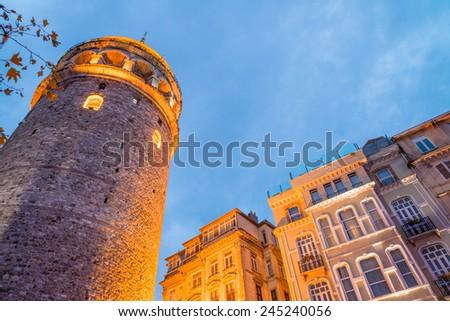 Magnificence of Galata Tower in Beyoglu, Istanbul, Turkey. - stock photo