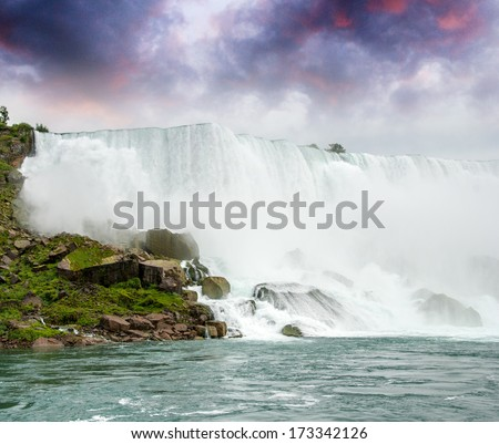 Magnificence of Niagara Falls. Wonderful colors of nature. - stock photo