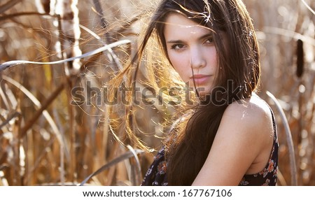 magnificent close-up outdoors Portrait of beautiful young woman - stock photo